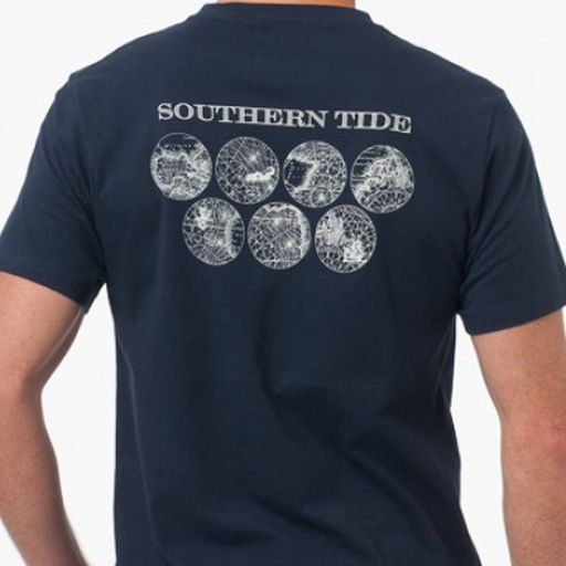 Southern Tide, World Printed Collection T-Shirt, Navy, XXL