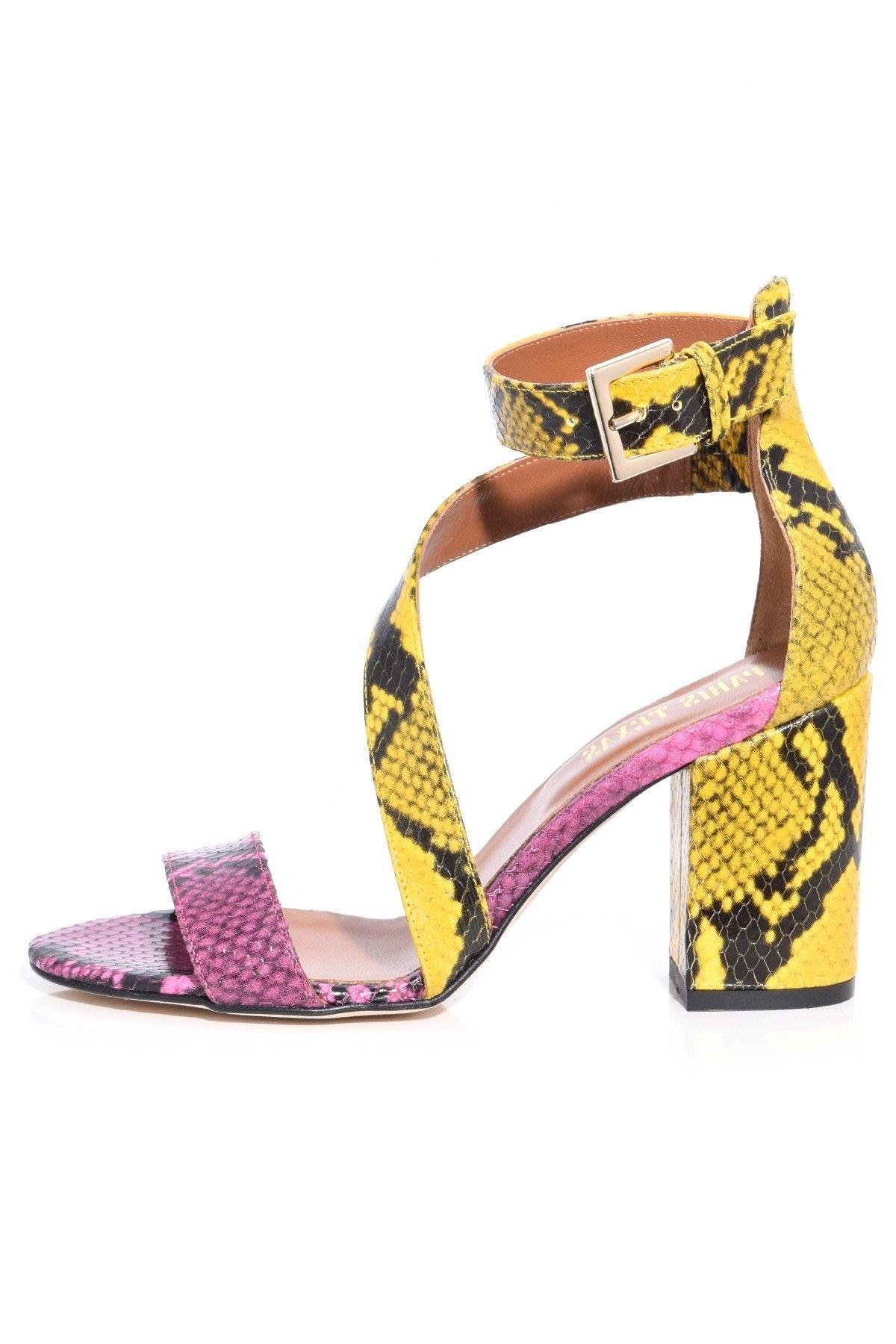 aafed9baa83 Snake Leather Block Heel in Yellow/Fuschia in 2019 | Hampden Shoes ...