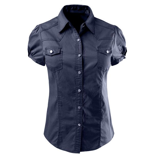 0fd162aa0 LE3NO Womens Cotton Short Sleeve Button Down Shirt ($25) ❤ liked on  Polyvore featuring tops, button up shirts, blue shirt, breathable shirts,  short-sleeve ...