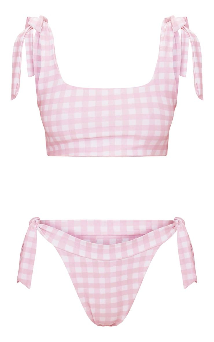 9f8510eef1d03 Baby Pink Gingham Ribbon Tie Square Neck Bikini TopThis hella cute bikini  top is perfect for the .