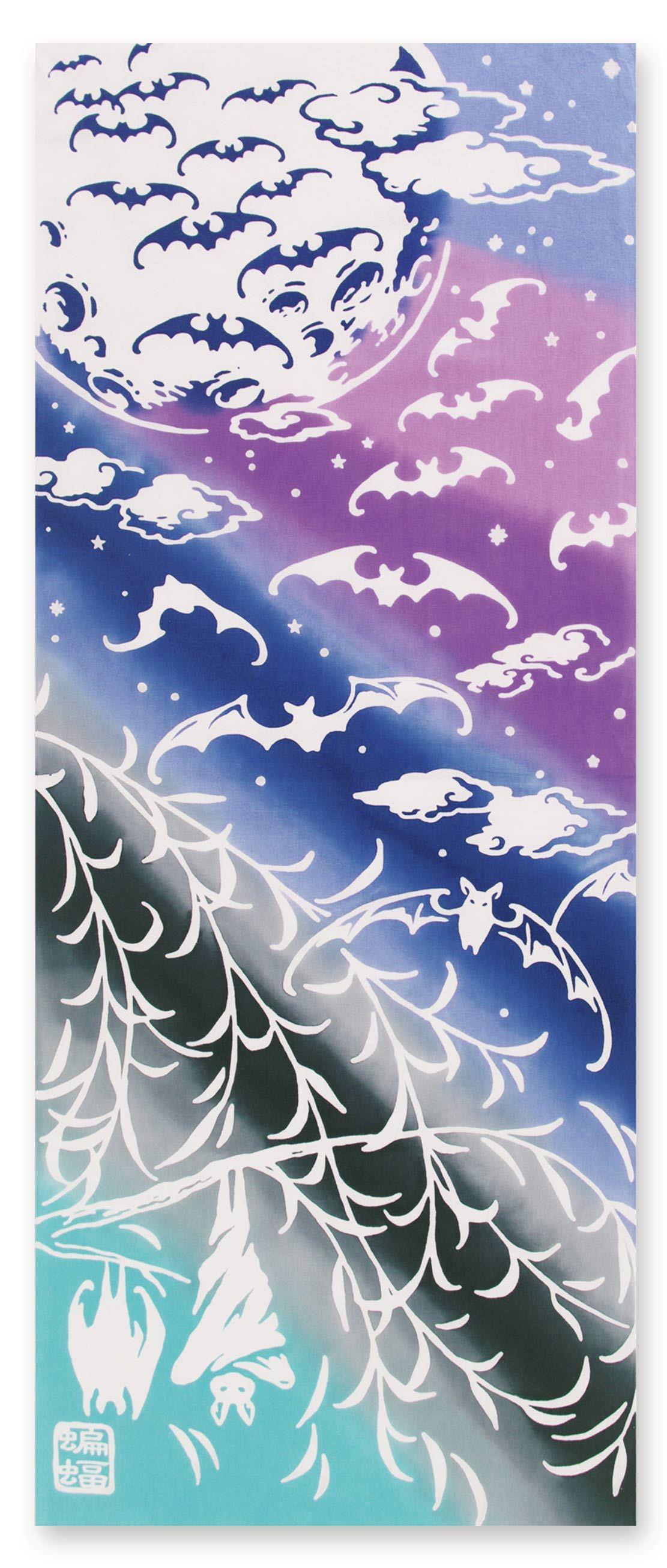 月下蝙蝠 手ぬぐい ジカンスタイル オンラインショップ 蝙蝠 切り絵 図案 手ぬぐい