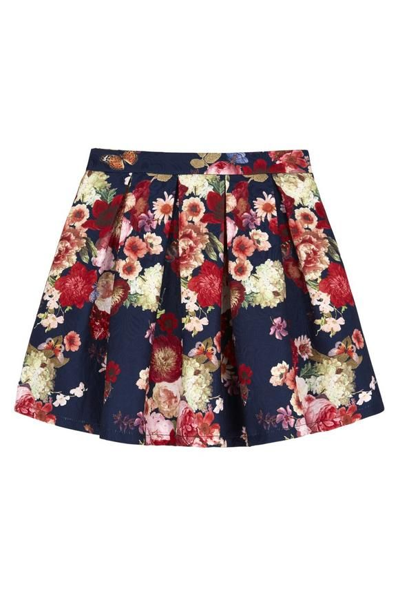Oil Painted Floral Jacquard Skirt Navy | Yumi