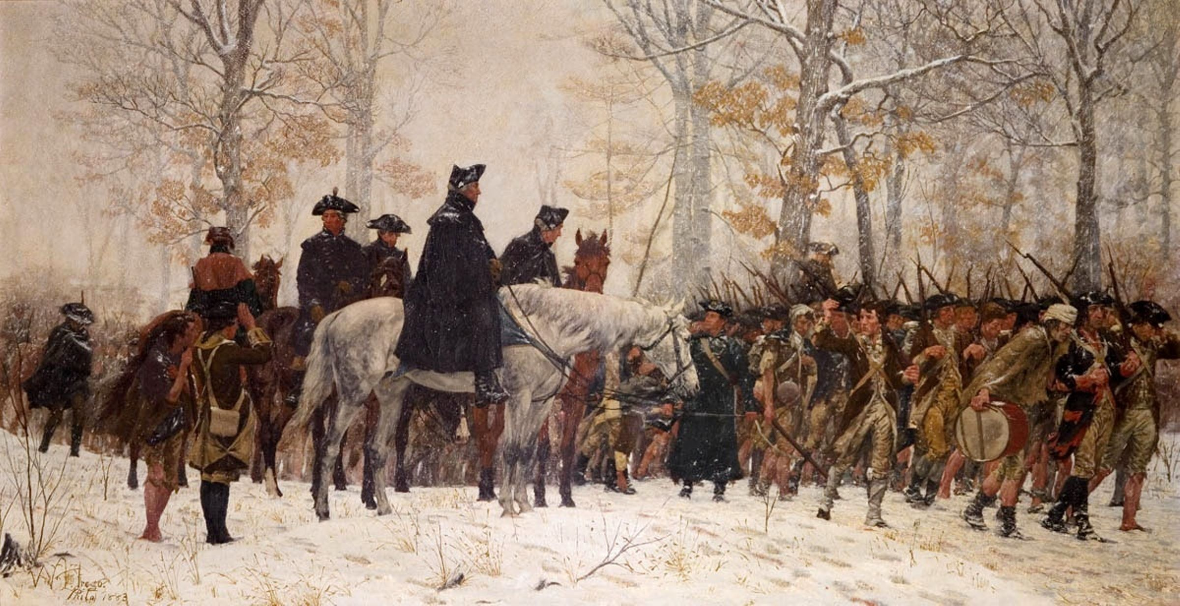 George Washington Watching Troops On March To Valley Forge