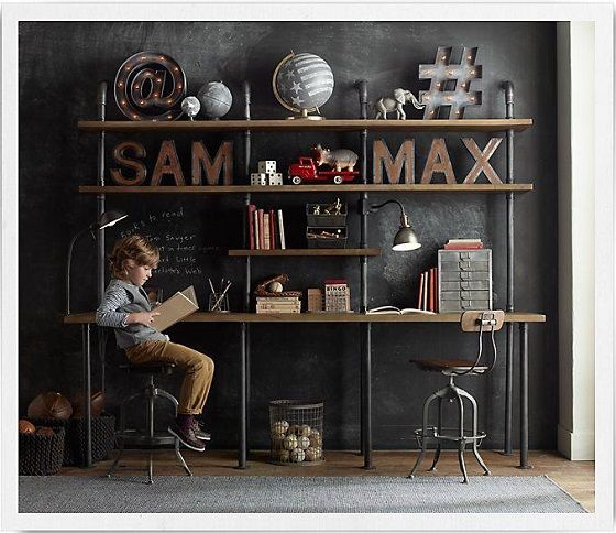 Rh Baby Child S Pipe Double Desk Shelving Sy Steel Pipeatching Cast Ings Serve As The Structure For Our Hardworking Pieces
