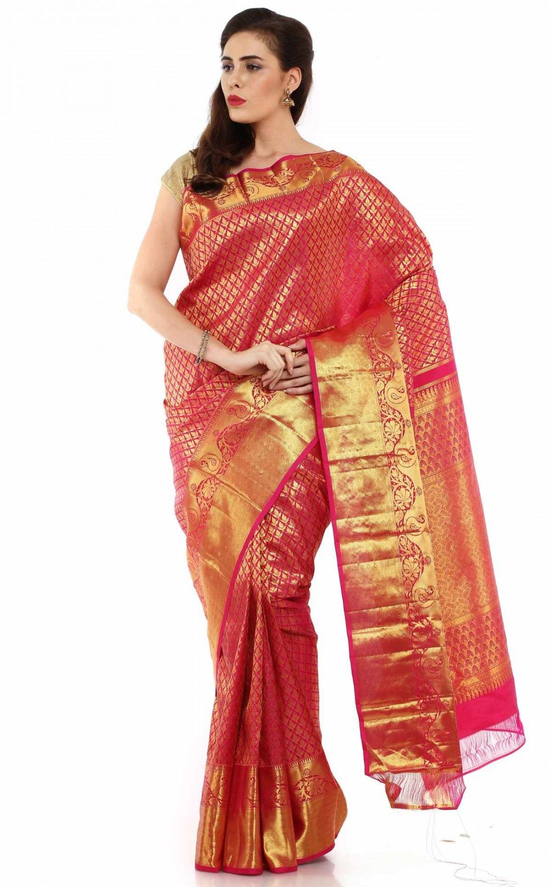 c05cab56cd KANJEEVARAM SILK DESIGNER SAREE-Beige-SAS19-VT-Silk - Kanchipuram Sarees -  Sarees - WOMENS