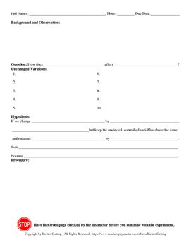 Inquiry Lab Report Template  Labs Teacher And Students