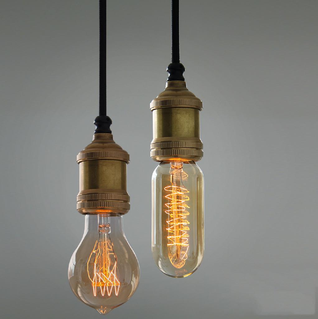 Solitaire Bronze Bare Edison Bulb Pendant Light 60w Black Blue
