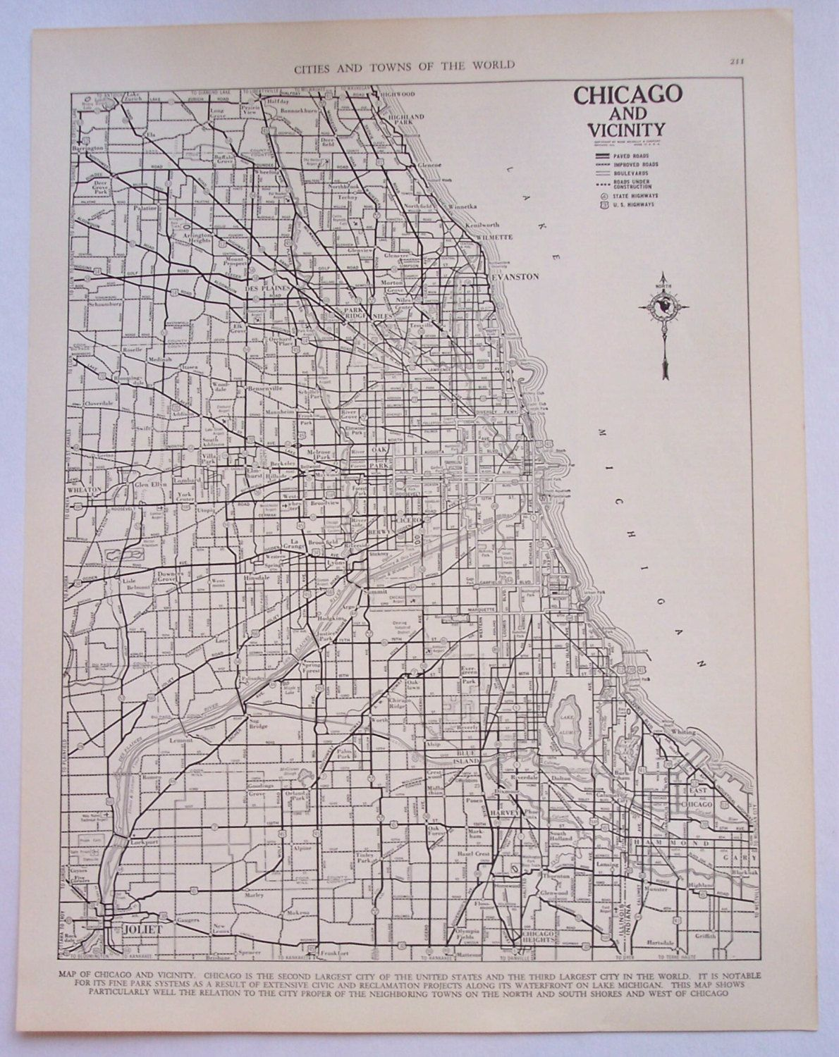 Vintage Chicago street map, 1947 city map | chicago | Chicago, Map on