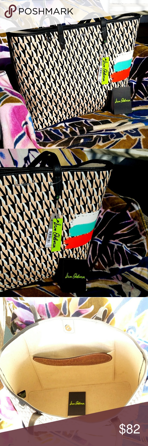 ccf46028c2 Sam Edelman Isalyn Signature Summer Tote Bag Dual top handles