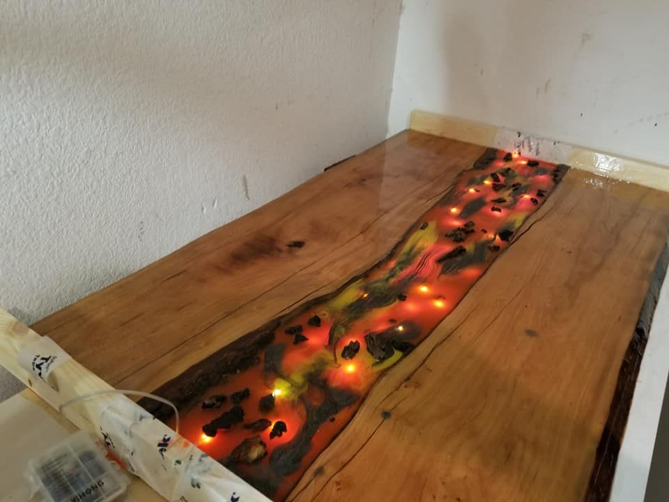 A lava lighted table i made for my son wood decor