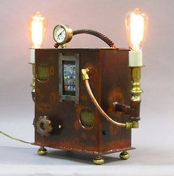 doctormonocle:    Steampunk Boom Box and Desk Lamp by Ed Kidera on Etsy