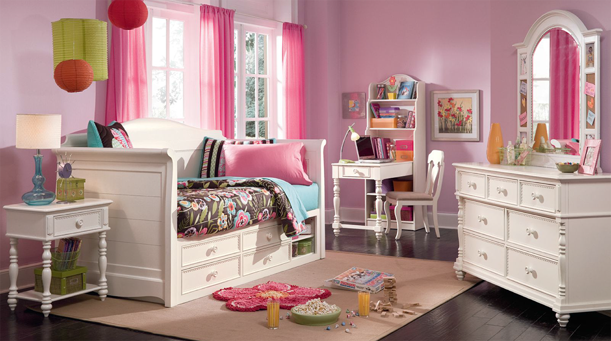 Lea Industries Furniture: Hannah Collection Featuring Twin Bed, Twin Bunk  Beds, Bookcase Desk, Mirror And Dresser. #homedecor #children #bedroom #pink