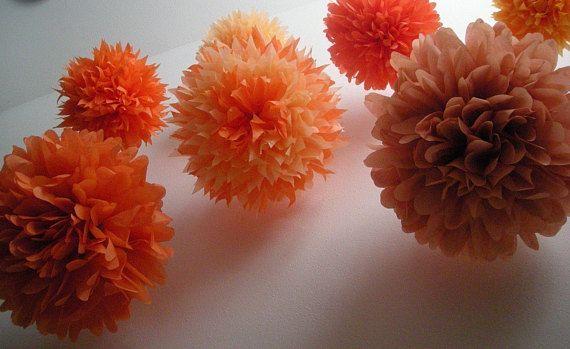 SALE / ORANGE tissue paper pom poms / set of 10 / rustic barn - halloween decorations for sale