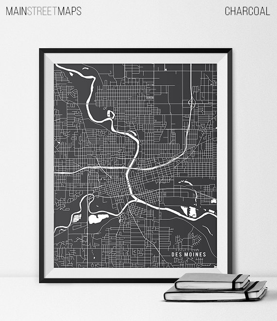 Des Moines Iowa Map Art By Main Steet Maps How Neat State Map