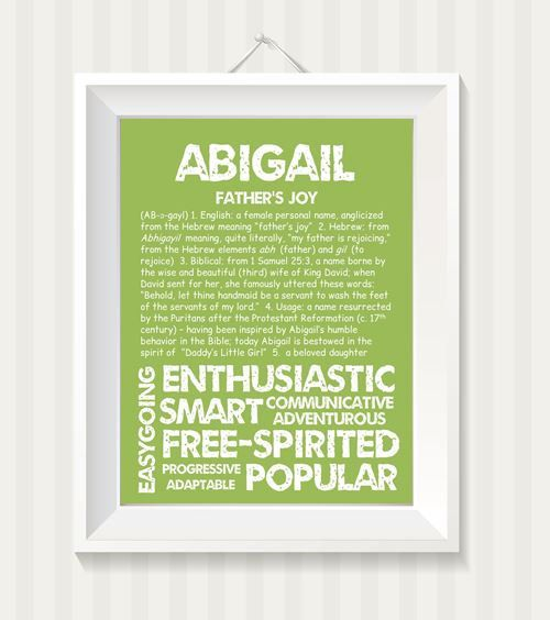 ABIGAIL Personalized Name Print / Typography Print by ...