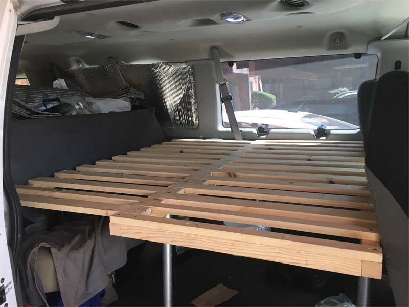 Looking How To Build A Spacing Saving Sliding Pull Out Slat Bed For Your Van Build A Pull Out