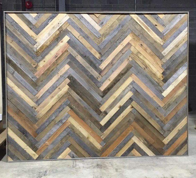 Chevron Pattern Reclaimed Wood Wall Made From Old Pallets