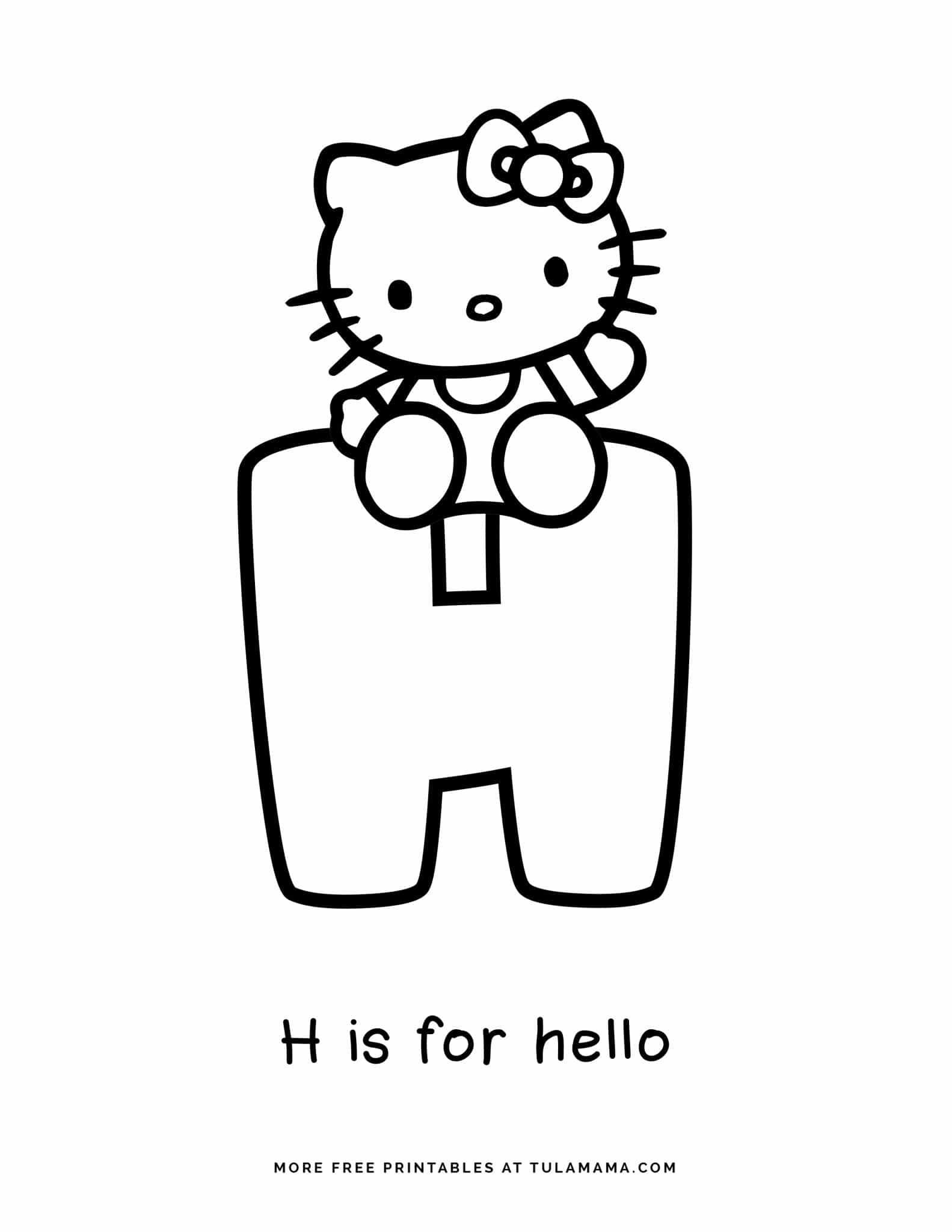 Learning Abc With Hello Kitty Coloring Page For Kids And Adults Hello Kitty Colouring Pages Kitty Coloring Hello Kitty Coloring