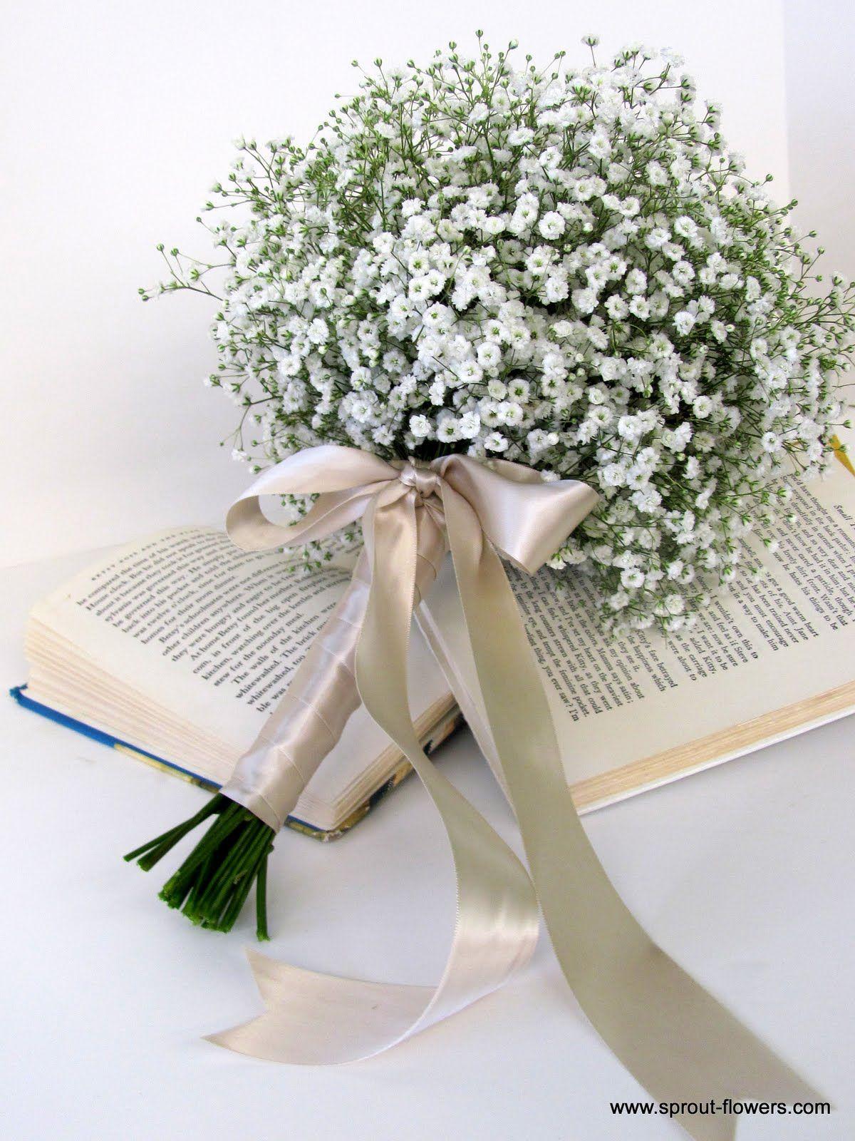Babies breath gerbera daisy wedding bouquet de
