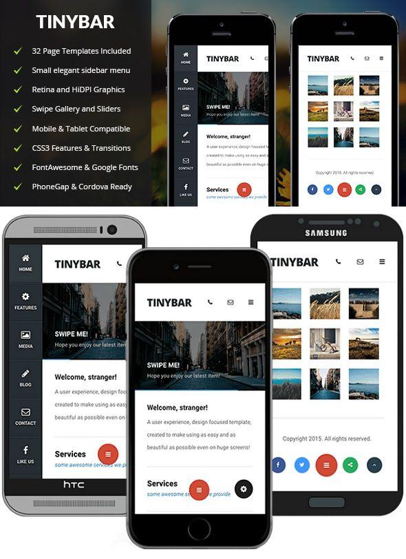 Tinybar Mobile Mobile Template Pinterest Template - Phonegap templates