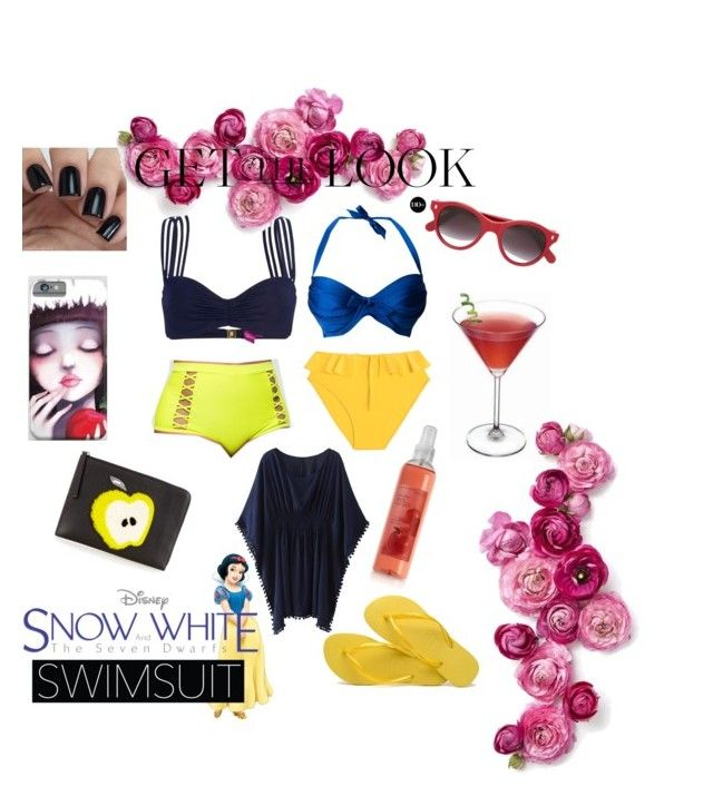 """""""Disney Bound: Snow White"""" by kathysillaman ❤ liked on Polyvore featuring Lipsy, Ashley Stewart, Maryam Nassir Zadeh, Cutler and Gross, Fendi and Havaianas"""