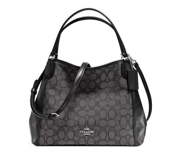 Tote - Signature Edie 28 Shoulder Bag Black Smoke/Black - grey, black - Tote for ladies Coach