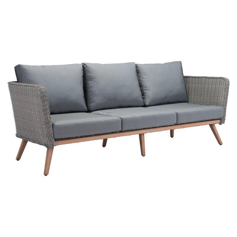 Enedina Patio Sofa With Cushions Outdoor Sofa Modern
