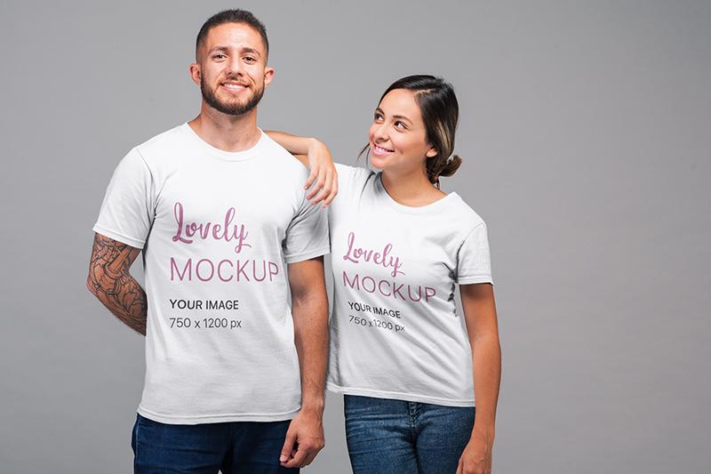 T Shirt Mockup Of A Woman Smiling At A Man Shirt Mockup Woman Smiling Tshirt Mockup