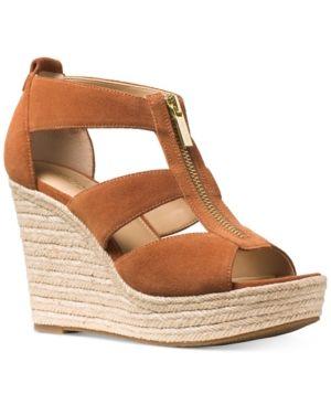 Michael Michael Kors Damita Platform Wedge Sandals Brown
