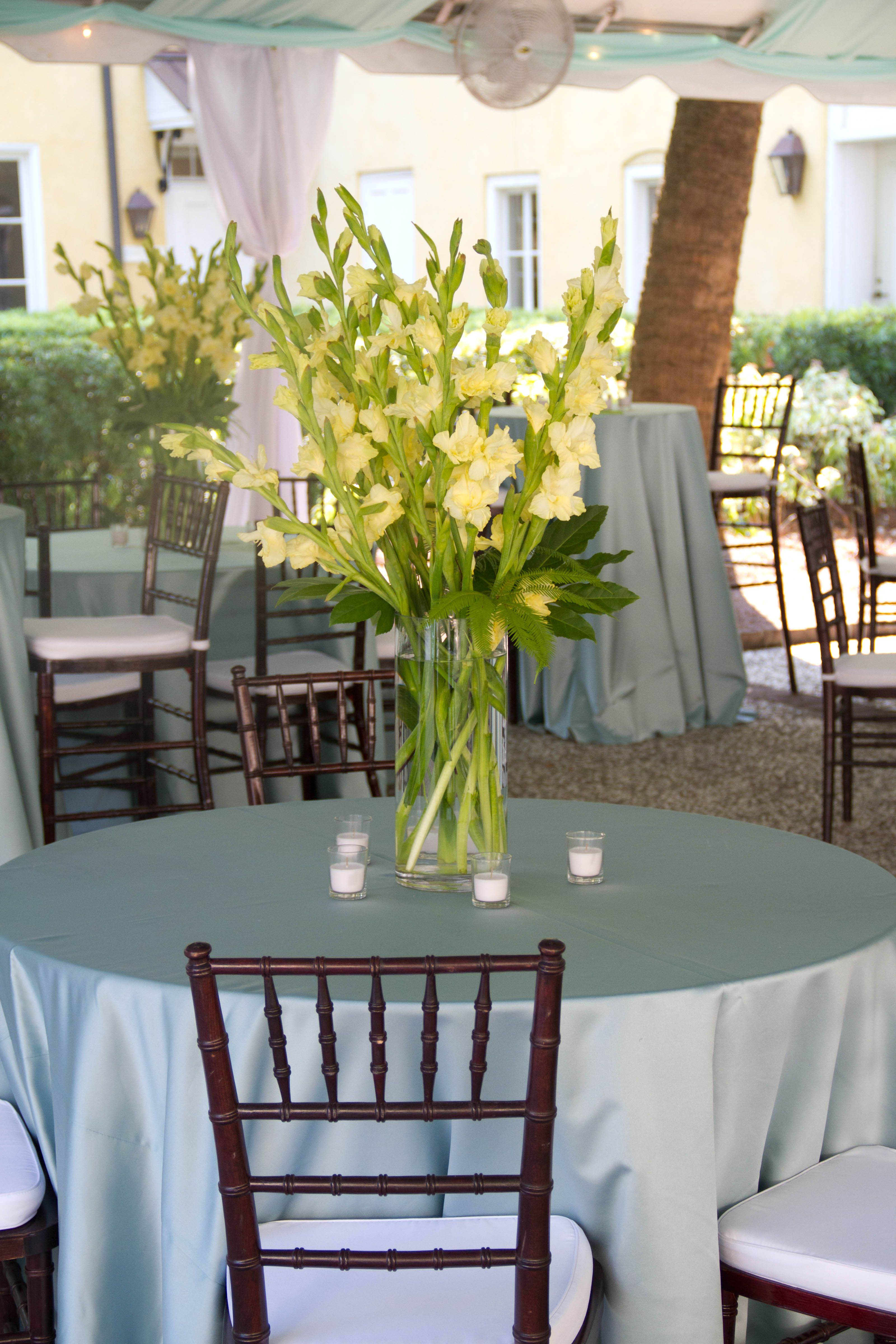 Yellow Gladiolus Designed By Judy Johnston Of Engaging Events Charleston Sc Wedding Planner Gladiolus Centerpiece Luxury Wedding Planner Weddings By Color