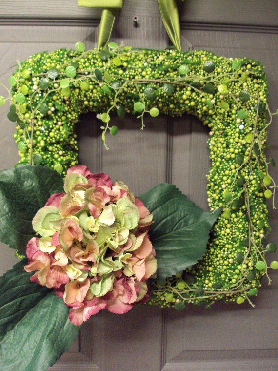 Hydrangea Wreath Square Wreath Moss Covered By PeriwinkleSilks, $85.95