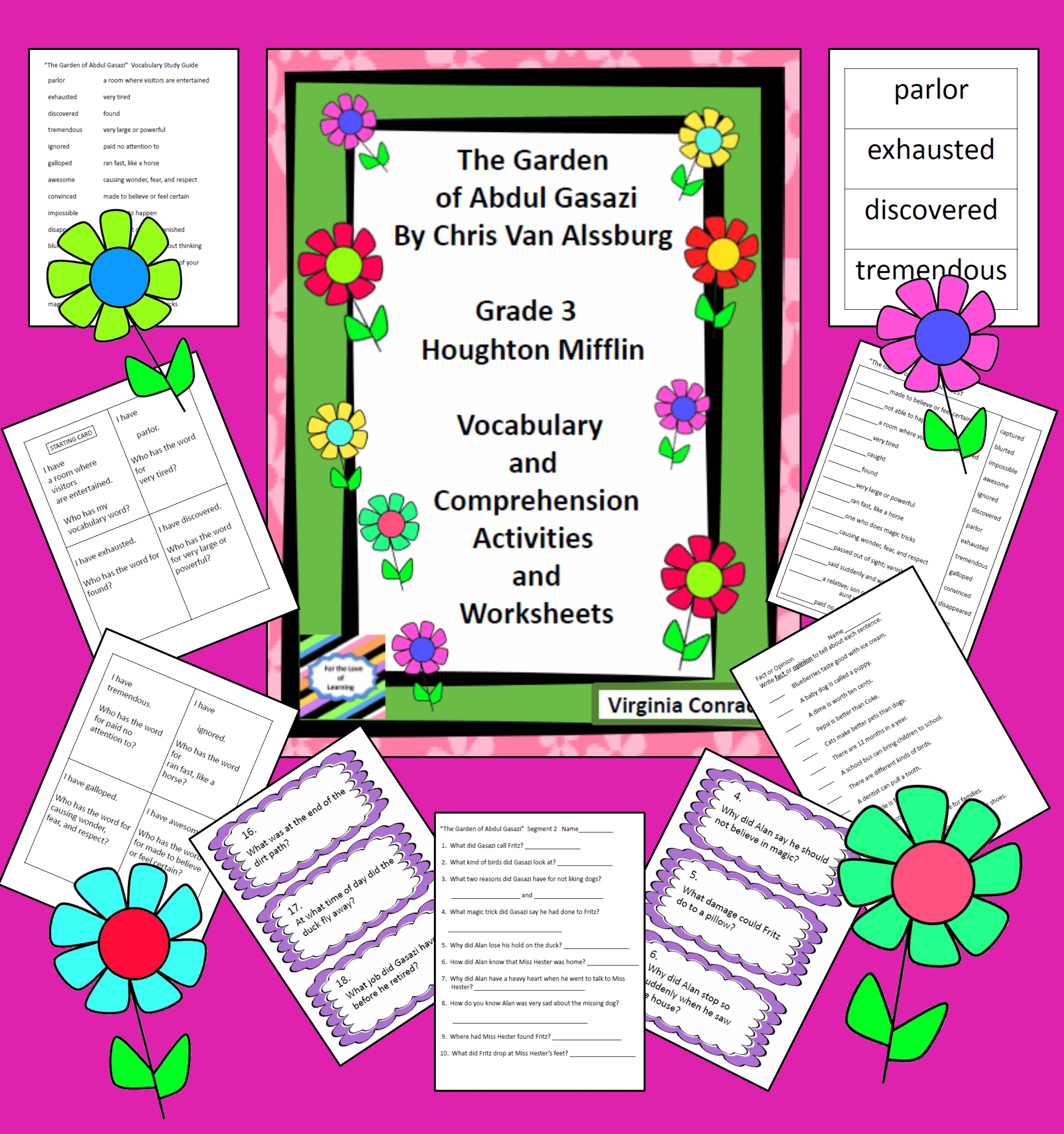Garden Of Abdul Gasazi Vocab And Comprehension Activities And Worksheets