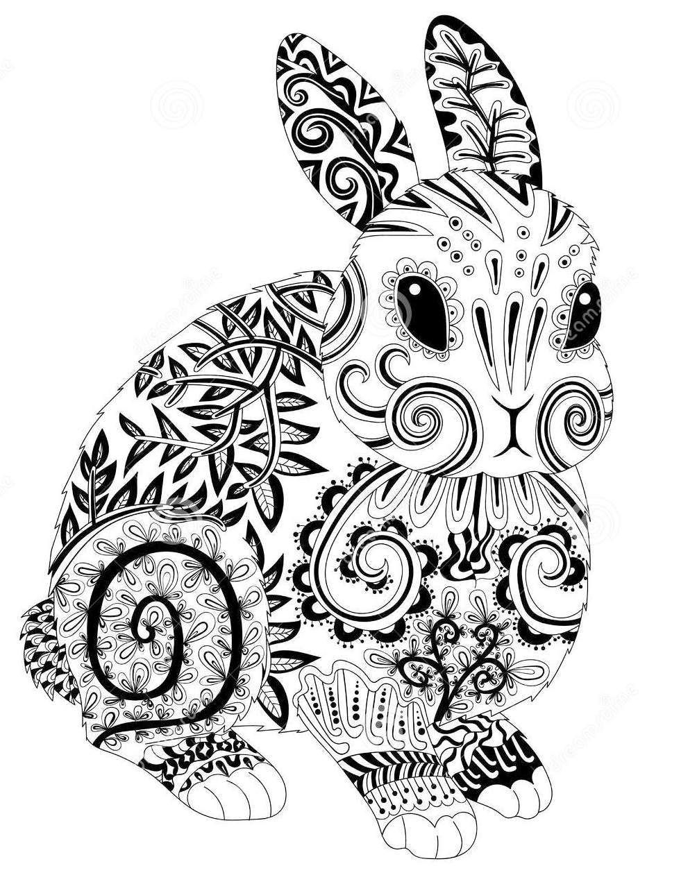 The Cute Rabbit Zentangle Coloring Book