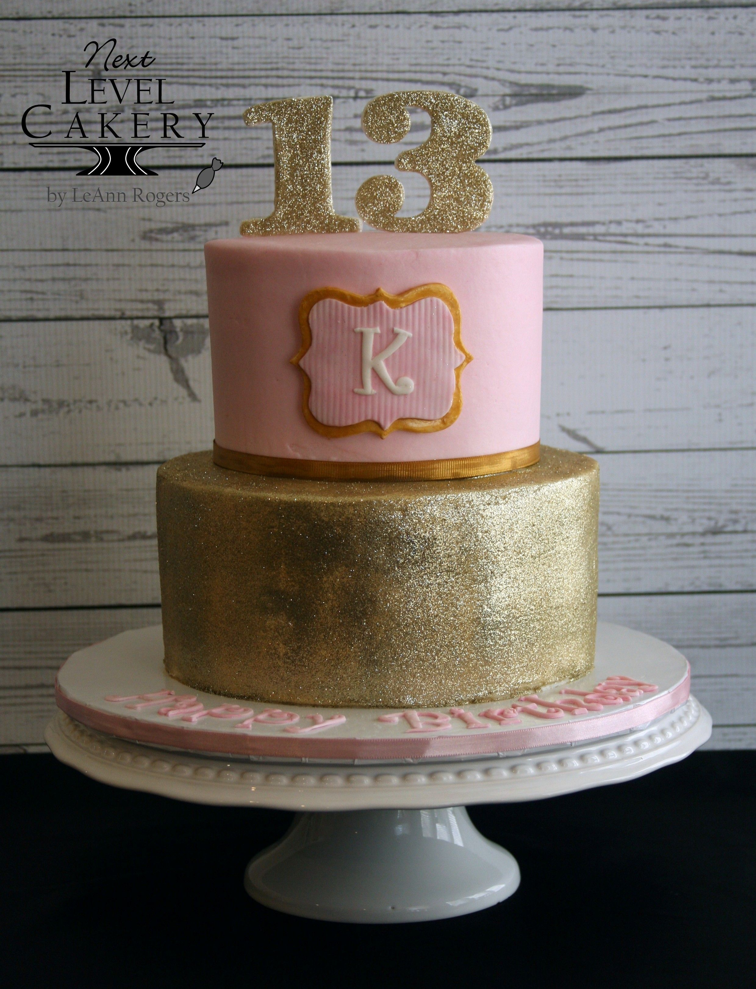 Gold And Pink Birthday Cake Girl S 13th Birthday With Images