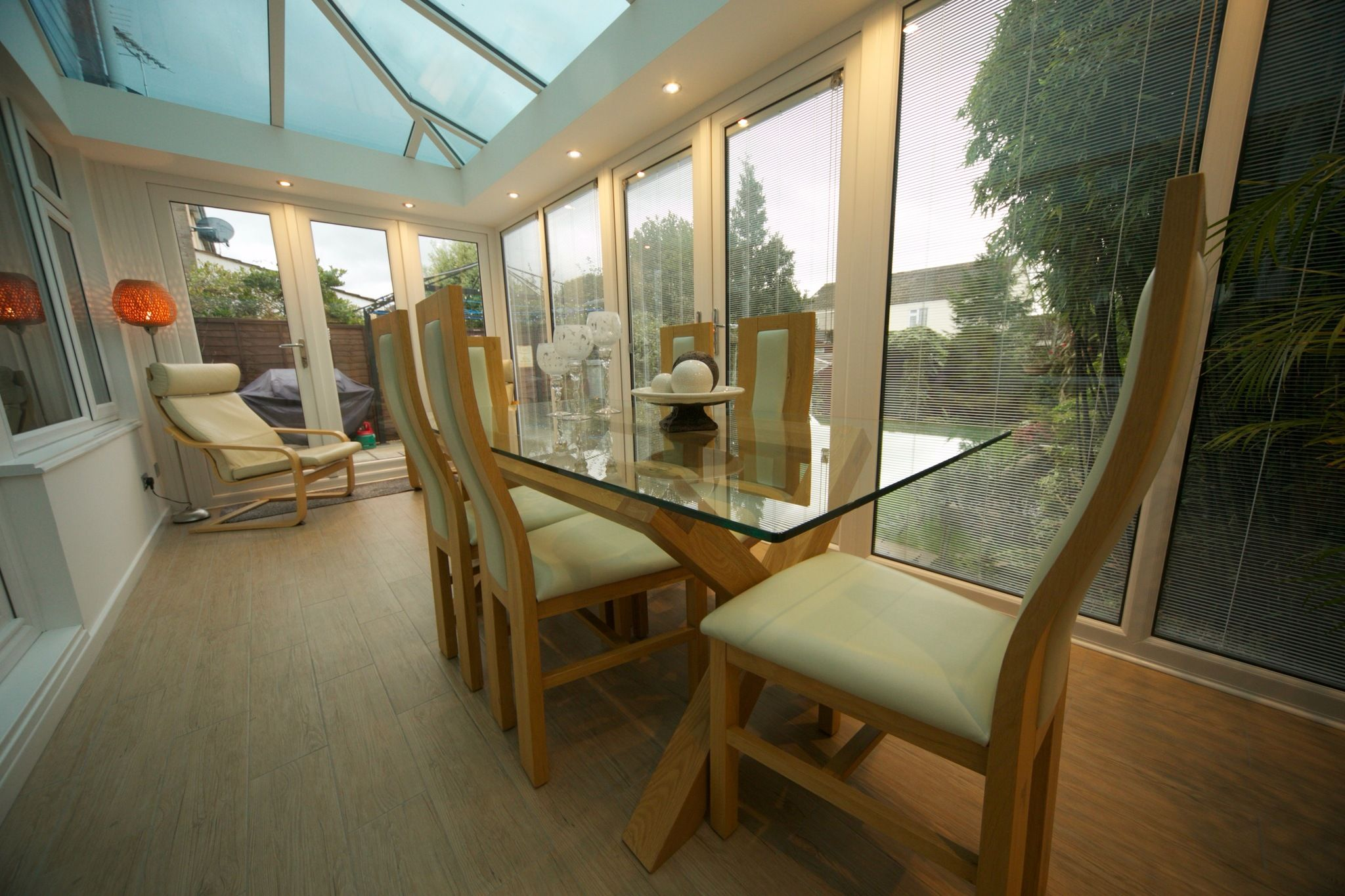 Glass roof extension with downlights glass roof