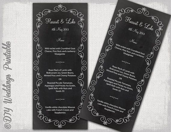 Wedding Menu Template Chalkboard Black  White Wedding Menu