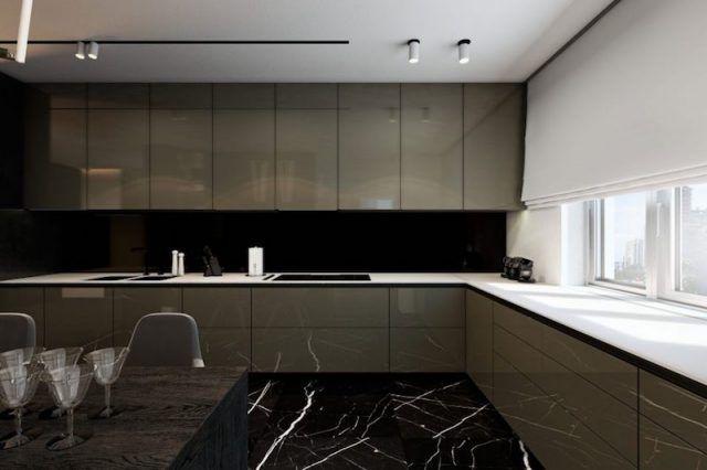 Parquet gris foncé combiné de marbre noir, meubles et luminaires