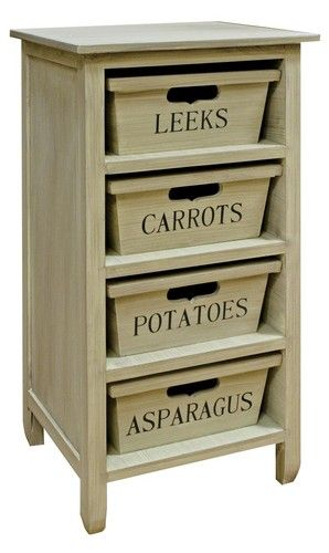 Shabby Chic Kitchen Wooden Fruit Vegetable Cabinet Veg