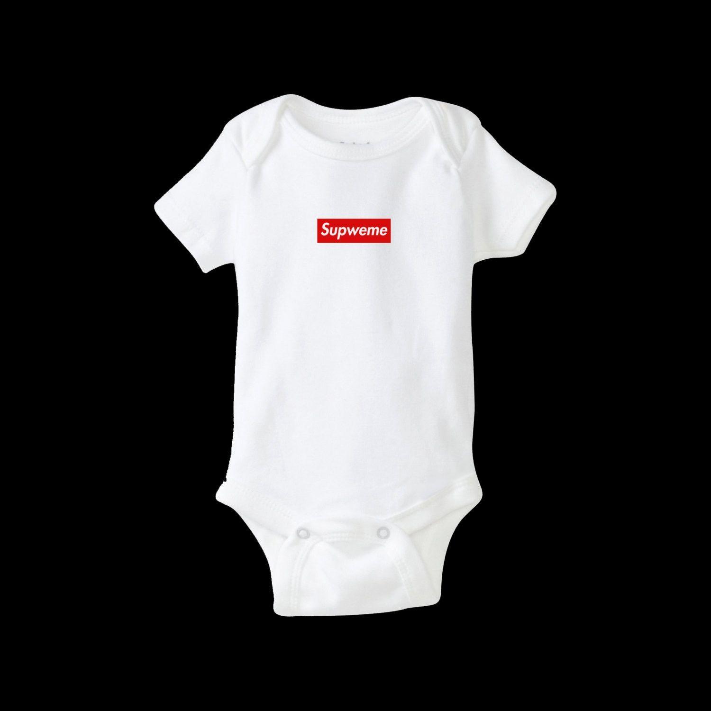 Supweme Box Logo inspired Baby Bodysuit Romper Babies Streetwear Street  Fashion Hip Hop Bogo Bape Yeezus Hypebeast Yeezy Palace Supreme ddbe88af8bf8
