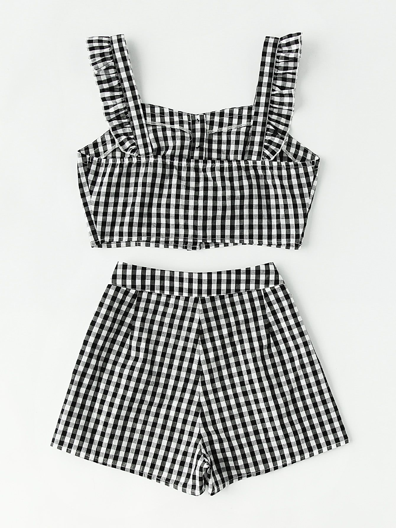 3e5b399ebf6f Black + White Ruffle Strap Checkered Pinafore Top And High-Waisted Shorts  Set