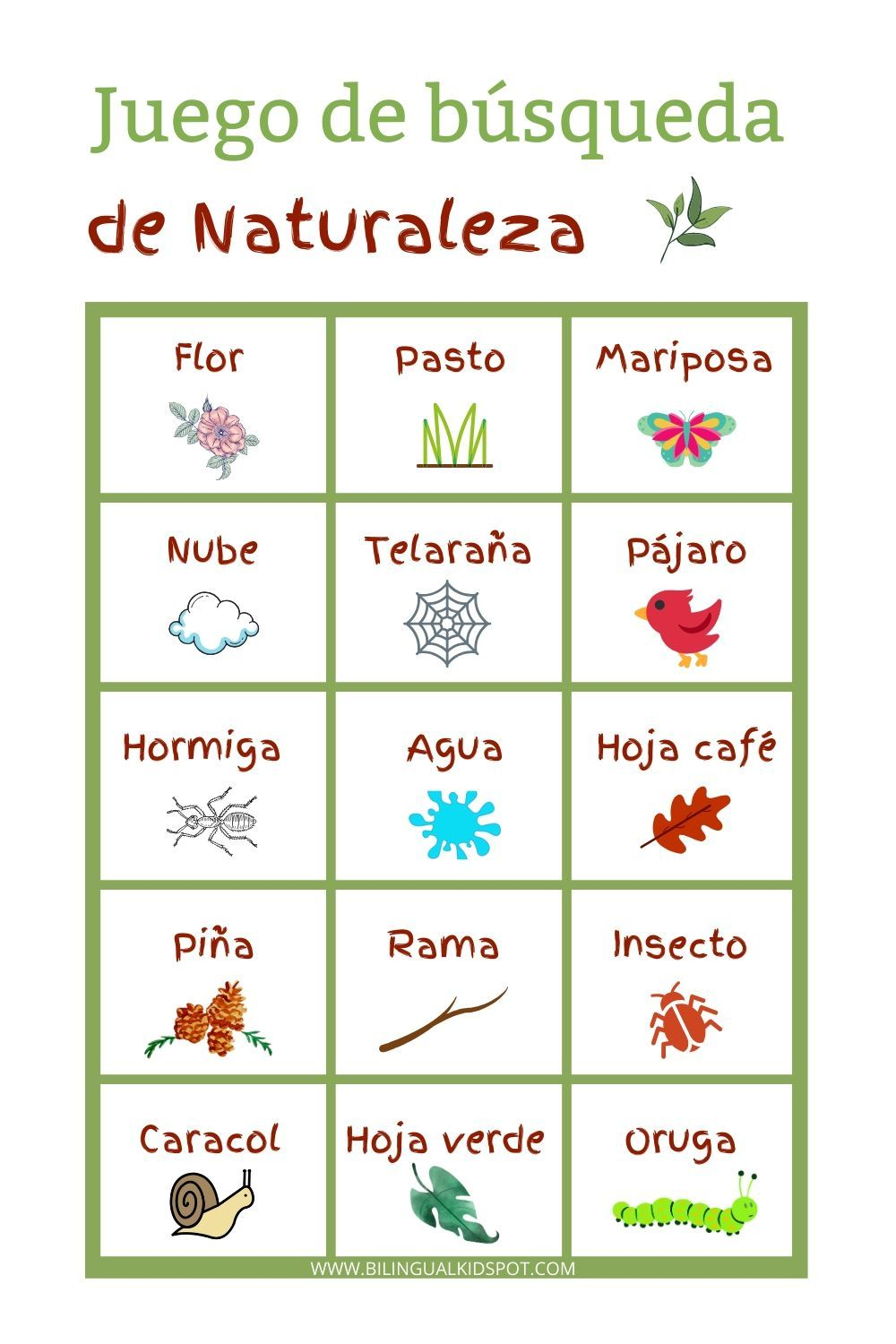 Scavenger Hunt Lists in Spanish, English & French FREE