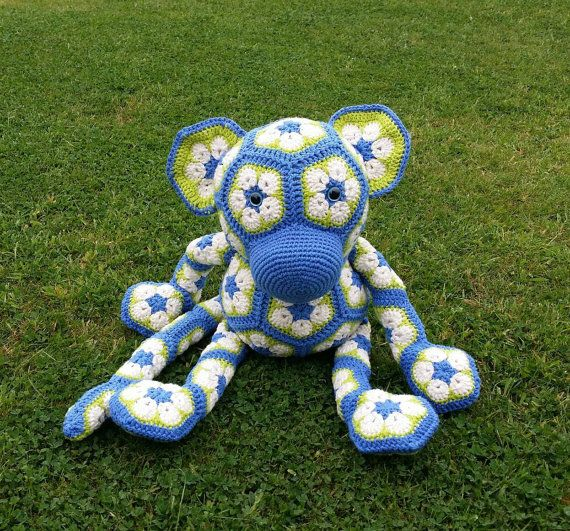 XL Crochet Monkey in African Flower Motif | Affen, Häkeln ...