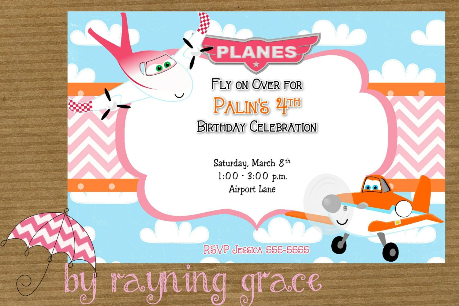 Girls Disney Planes Birthday Party Invitations by RayningGrace ...