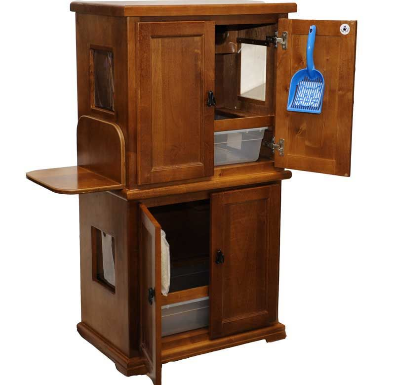 Style BB Two Pan Litter Box Cabinet With The Litter Pan On Top With Storage  At CatsPlay Cat Furniture