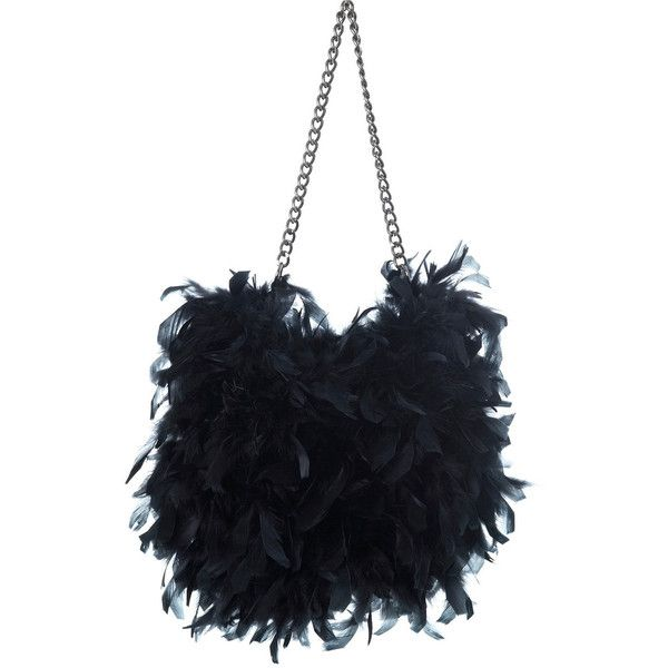 Black Huge Feather Bag