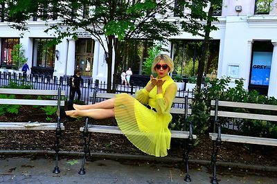 sammy davis of sammy davis vintage wearing a 1960s pleated dress