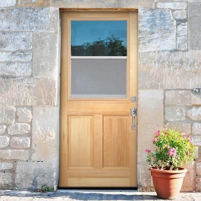 Masonite 30 In X 80 In 2 Panel Venting 1 2 Lite Clear Glass Unfinished Fir Front Exterior Door Slab 82730 The Home Depot Exterior Front Doors Exterior Doors Solid Wood Front Door