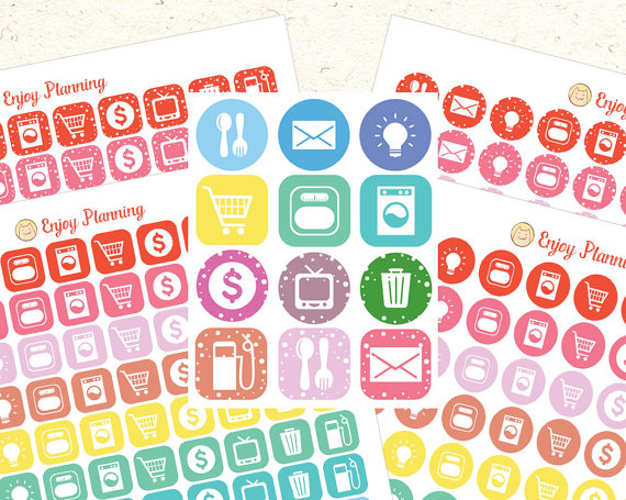 Icon Printable Planner Stickers Printable Icons Planner Stickers Set