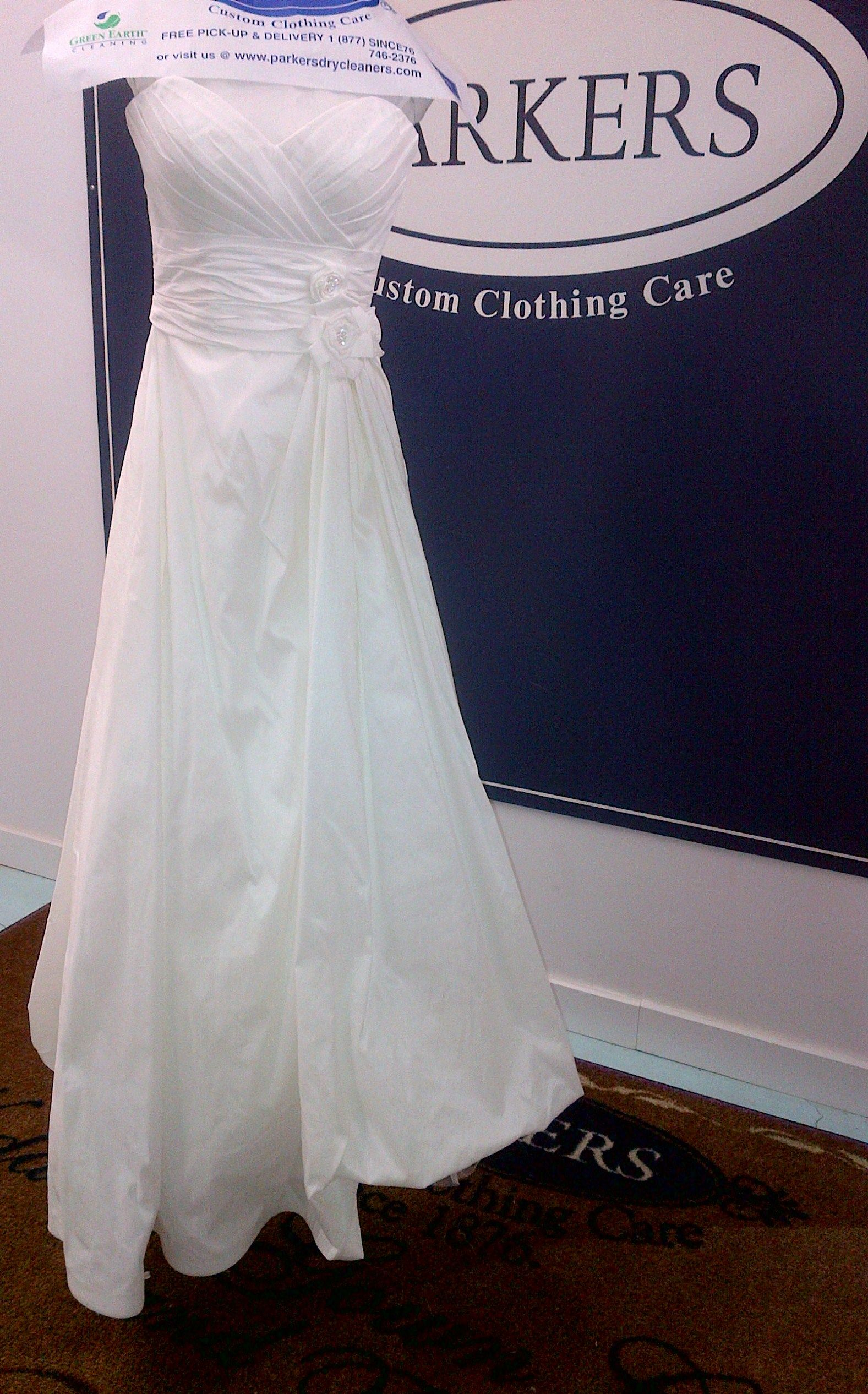 Wedding dress restoration  After cleaning the wedding gown looks