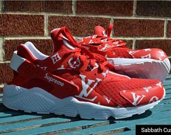 3720de7c9d4 custom hand painted nike huarache supreme louis vuitton LV sneakers  shoes